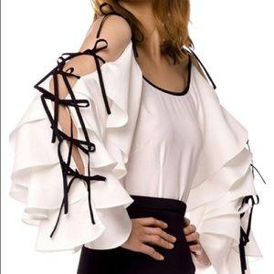 Gracia White Tie-Sleeve Blouse - Size S